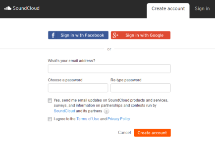 soundcloud sign up